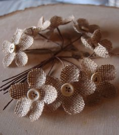 Lovely rustic burlap flowers great for wedding and special occasion decor! #weddingdecor #burlapweddings #burlap