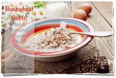 Boil It: cook buckwheat like you would oatmeal! Or blend with oatmeal! Buckwheat Gluten Free, Gluten Free Grains, Gluten Free Recipes, Vegetarian Recipes, Healthy Recipes, Trainer Fitness, Free Food, Glutenfree, Oatmeal