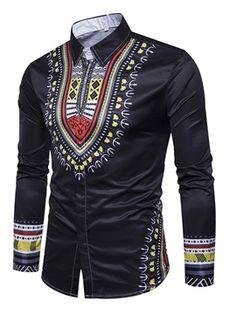 SELX Men Stand Collar African Fribal Print Long Sleeve Slim Fit Longline Gilding Shirt