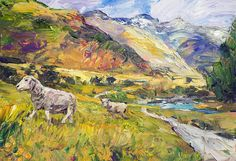 Sheep Print featuring the painting New Zealand Pastoral by Steven Boone