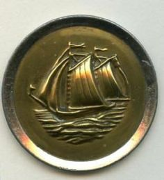 SOLD:Sailing Vessel button large antique brass button