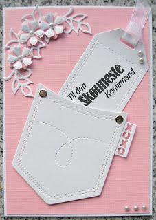 Troldinden: Konfirmation til en pige med lomme. Confirmation Cards, Diy And Crafts, Paper Crafts, Pocket Cards, Prima Marketing, Copics, Diy Cards, Projects To Try, Card Making