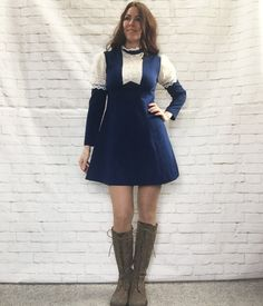 Vintage 60s Mod Victorian Lace Ruffled High Collar Mini Dress Blue Empire Belt Leg-Of-Mutton Sleeves by PopFizzVintage on Etsy