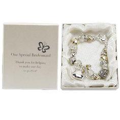 Amore Silver Gold Bead Charm Bracelet Bridesmaid