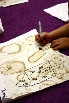 Pirate treasure maps painted with coffee 1st