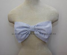 light blue seersucker bow bandeau - Made to order. $75.00, via Etsy. DYING.