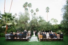 Wedding ceremony on the Croquet Lawn @ the Parker Palm Springs.