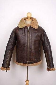 Vintage B-3 Irvin RAF Pilot Leather Jacket AIR FORCE Flight SHEEPSKIN Small