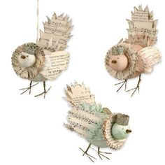 Bethany Lowe Christmas Little Birdie Ornament Set of 3