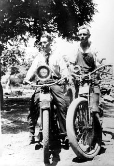 Samuel Marx Cooper, on left with Stan or Percy Masson in Calabasas on their motorcycles, circa 1918. San Fernando Valley History Digital Library.