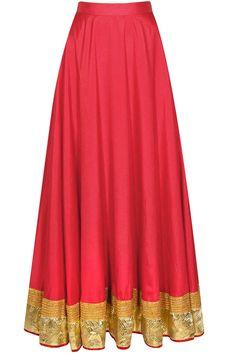 Red gota flared skirt by Surabhi Arya. Indian fashion