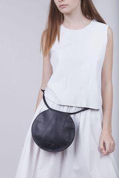 Round Black Leather Bag Circle Bag Round Bag Round Evening