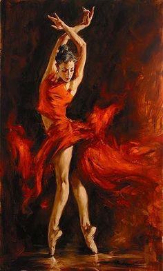 """""""Dança do Fogo"""" - Pintura de Andrew Atroshemko (1965)"""