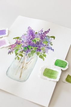How to paint lilacs with watercolor and a free printable Watercolor Beginner, Watercolor Art Lessons, Watercolor Paintings For Beginners, Painting With Watercolors, Watercolor Tips, Watercolor Cards, Watercolor Flowers Tutorial, Floral Watercolor, Lilac Painting