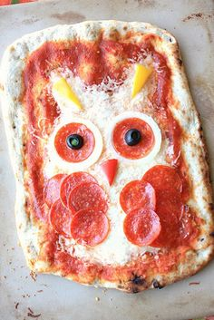 Owl pizza. No owls were harmed in the making of this pizza... LOL