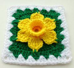 Instant Download crochet PDF pattern Daffodil in granny