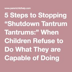 "5 Steps to Stopping ""Shutdown Tantrums:"" When Children Refuse to Do What They are Capable of Doing"