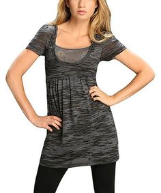 Look what I found on #zulily! Black Burnout Scoop Neck Top by TROO #zulilyfinds