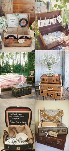 vintage wedding decoration ideas with suitcases #weddingideas #weddingthemes #vintagewedding #weddingdecor