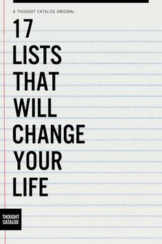 ...Lists that change your life, you say? Hrmmm....