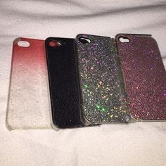 iPhone 4/4s cases!! Glitter and sparkles iPhone 4/4s cases with glitter. Two are in perfect condition (black and silver), however the purple one and ombré one have slight chipping. Accessories