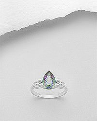 Rhodium plated sterling silver ring set with mystic topaz and CZ