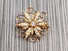 Antique Gold Pin Victorian Diamond and Seed Pearl Pin