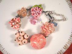 A vintage statement in Carnation Pink! Bridesmaid Gift Vintage Earring Bracelet by JenniferJonesJewelry, $37.50