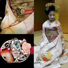 November 2015: maiko Ayaha of Pontocho presenting her precious obidome - a…