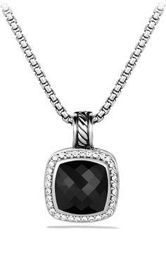 David Yurman 'Albion' Pendant with Black Onyx & Diamonds (=)