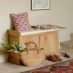 Beautiful Appleby Oak Hallway Storage Bench with Cushion. Free Delivery & Returns on all storage bench orders. Shoe Storage Bench With Cushion, Hallway Shoe Storage Bench, Hallway Storage Bench, Storage Bench Seating, Seat Storage, Shoe Bench, Entry Bench, Basket Shelves, Storage Baskets