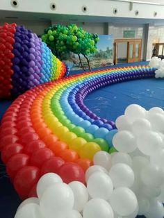 Balloon Wall, Balloon Arch, Balloon Garland, Rainbow Decorations, Balloon Decorations Party, Rainbow Balloons, Helium Balloons, Balloon Table Centerpieces, Mickey Mouse Invitation