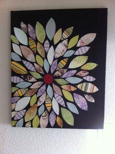 Een mooi schilderij en makkelijk zelf te maken. Pak een canvas doek, schilder deze in een donkere achtergrond kleur bijv. zwart. Maak 3 malletjes voor de blaadjes een kleine, middel grote en een groot blaadje. Zoek thuis verschillende papier soorten het liefst met een motief. Ga knippen en kijk hierna waar je de blaadjes wil hebben. Gebruik modepodge om je blaadjes vast te plakken. En klaar is je mooie schilderij