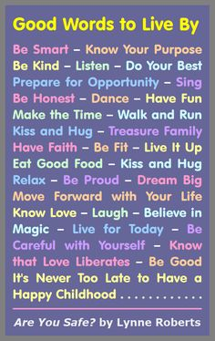 Good Words to Live By - Dance - Live It Up - Dream Big - Eat Good Food - and much more. #Fitness Matters