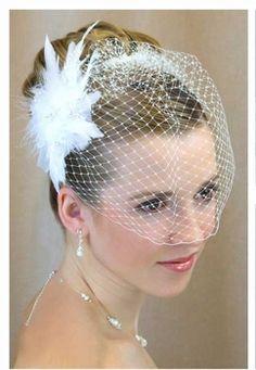 Birdcage Wedding Veil With Crystal Feather Fascinator Clip- On Sale! $59.99 including U.S. shipping! affordableelegancebridal.com