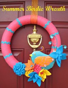 """Welcome every """"birdie"""" with this cute Summer Birdie Wreath.  At http://delightfulemade.com/?p=90"""