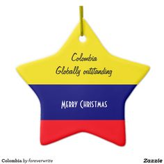 Colombia Double-Sided Star Ceramic Christmas Ornament