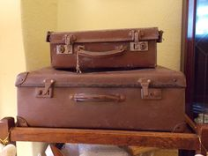 Vintage Retro Old Brown Suitcases x 2 - Leather Handles (One with Original Keys)