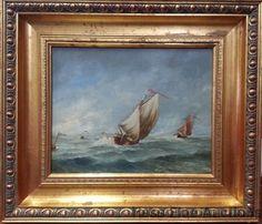 Vintage Signed Sailboat Ship Boat Stormy Seas Framed Impressionist Oil Painting #Impressionism