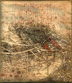 "takahikohayashi: pen drawing on the Antique parchment 林孝彦 HAYASHI Takahiko "" Gelli Plate Printing, Collagraph, Black And White Drawing, Mixed Media Collage, Art Portfolio, Painting & Drawing, Printmaking, Landscape Paintings, Illustration"