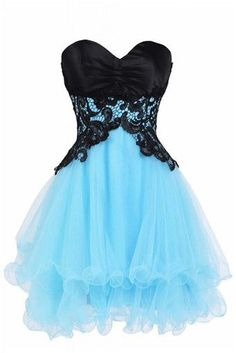 Lace Chiffon Short Prom Dresses, Sweetheart Zipper Strapless Cute Homecaming Dresses