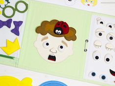 The felt play mat Make a face is made in the form of a quiet book of three pages. In this felt toy the child needs to collect a face from removable parts - eyes, nose, mouth, eyebrows, hair, and accessories. The game has 51 removable parts, from which you can collect a lot of different