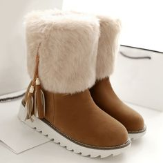 39.53$  Watch now - http://dik2a.justgood.pw/go.php?t=202292209 - Faux Fur Flock Tassels Snow Boots