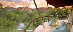 Located in Limpopo, South Africa, Marataba Safari Lodge is a game lodge where you'll find a fantastic blend of luxury with a simple and homely feel. Luxury Tents, Luxury Camping, Luxury Travel, Luxury Hotels, Beautiful Hotels, Beautiful Places, Amazing Hotels, Simply Beautiful, Silves Algarve