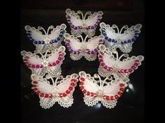 Бабочки с кружевами МК канзаши - YouTube
