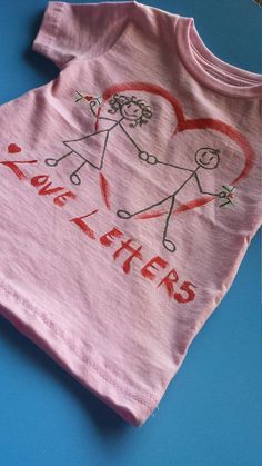 ed6f6641 Love Letters - Hand Painted 18-24 Month Infant T-Shirt - Creations of Grace  100% Cotton Kids Tee - Child's Shirt - Small Beans Wear