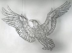 Wire Sculpting   ... sculptor Elizabeth Berrien bald eagle and trout fish wire sculpture