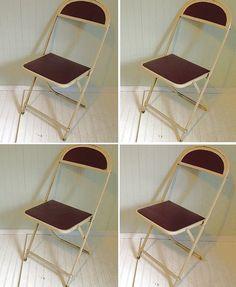 Ordinaire FREE Shipping   Vintage Cream Metal U0026 Burgundy Folding Chairs Set Of 4    $150.00