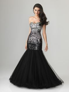 Trumpet Sequins Tulle Prom Dress