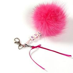 Adorable keychain for golfing lady or girl. With Fox Pom pom. Hand made. With the text GOLF. I have different colors. Find it on www.birdiecountry.com